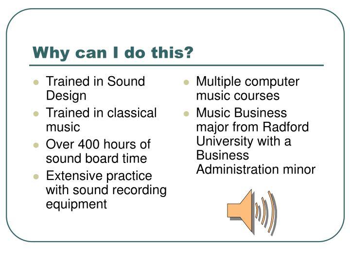 Trained in Sound Design