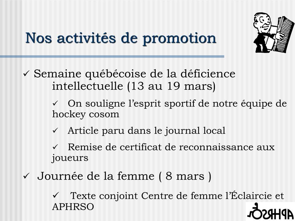 Nos activités de promotion