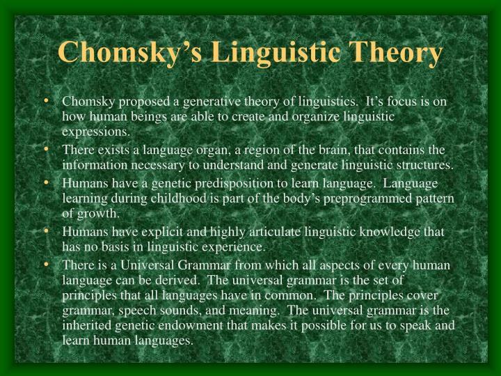 Chomsky's Linguistic Theory
