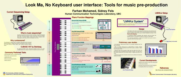 Look Ma, No Keyboard user interface: Tools for music pre-production