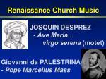 renaissance church music