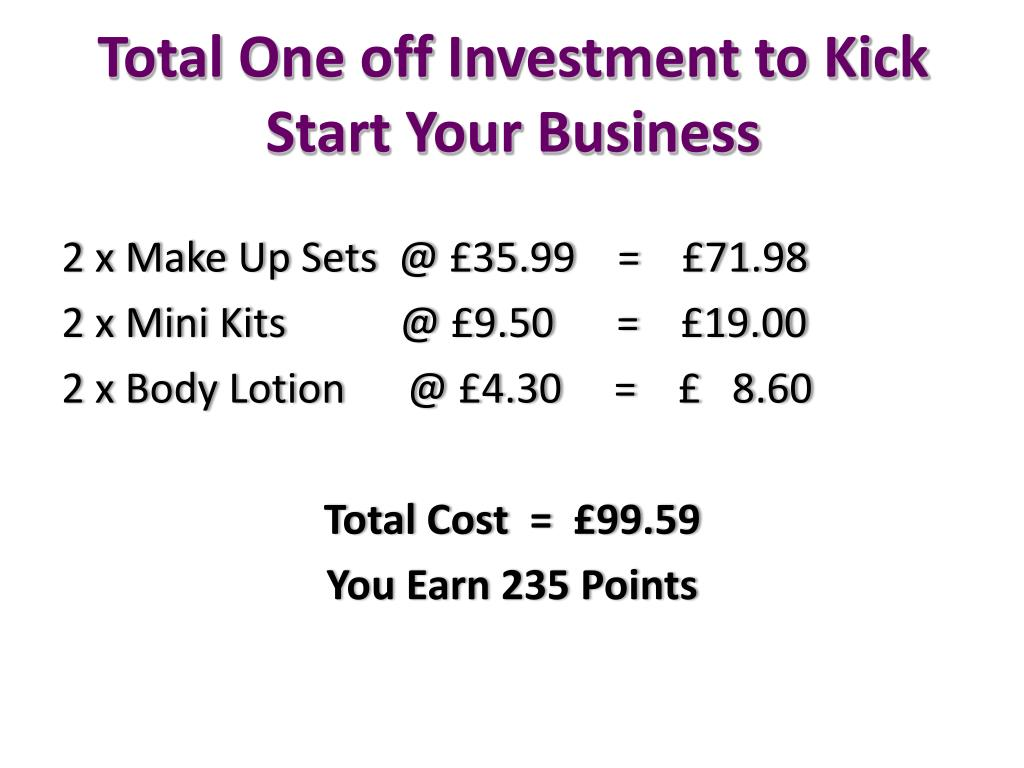 Total One off Investment to Kick Start Your Business