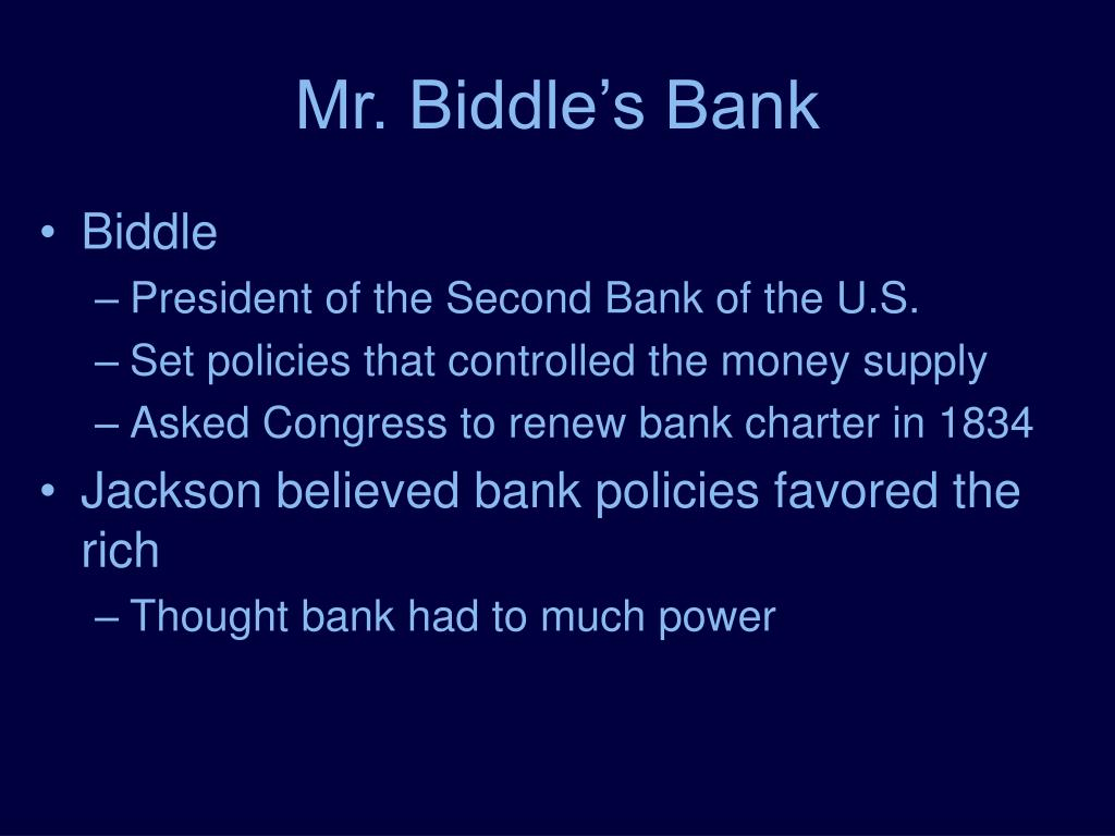Mr. Biddle's Bank