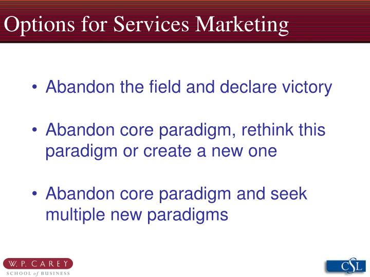 Options for services marketing