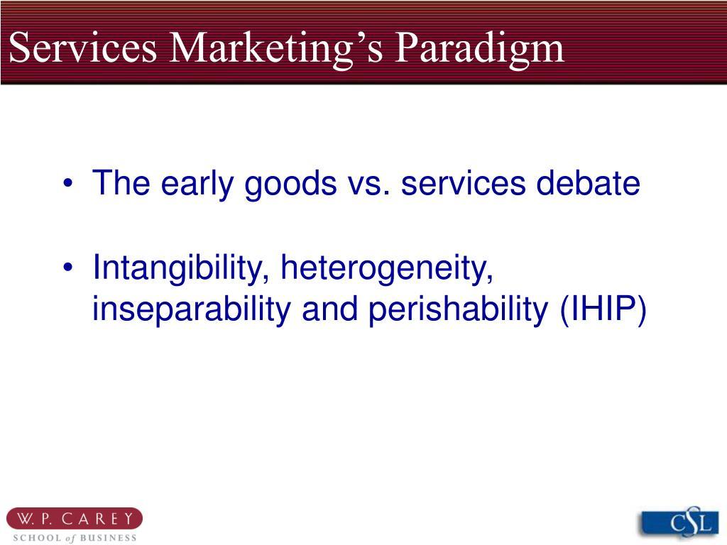 Services Marketing's Paradigm