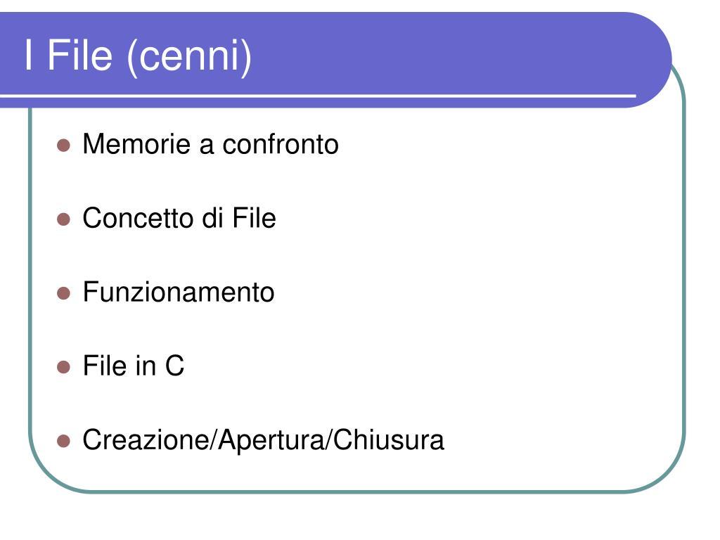 I File (cenni)