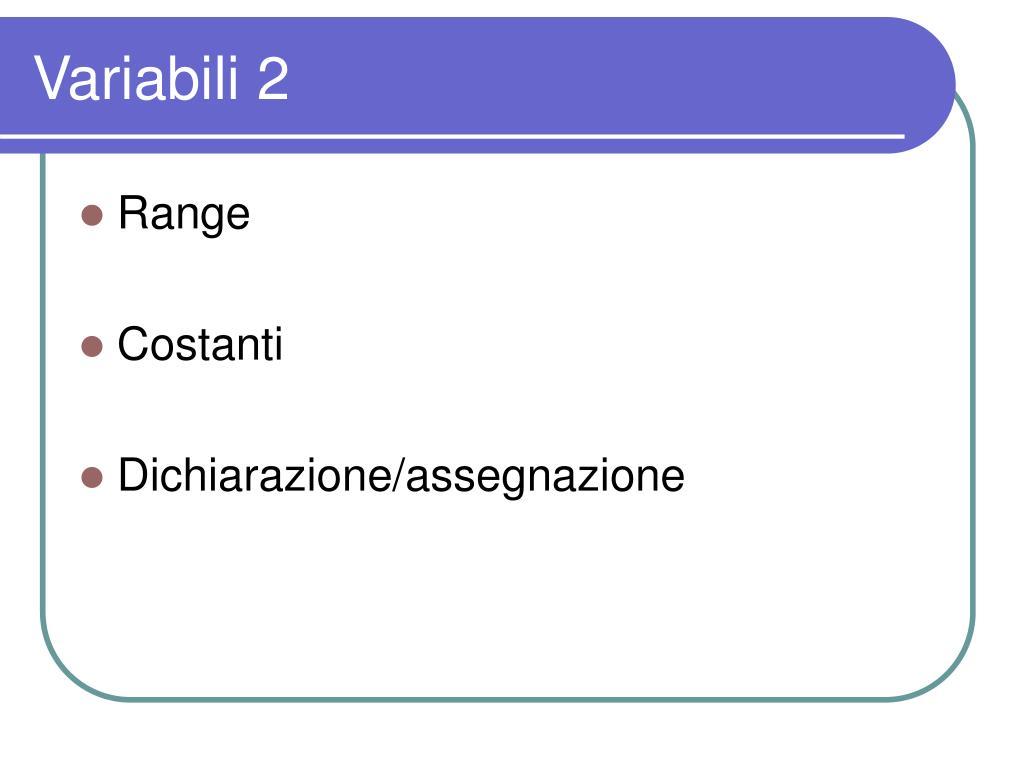 Variabili 2