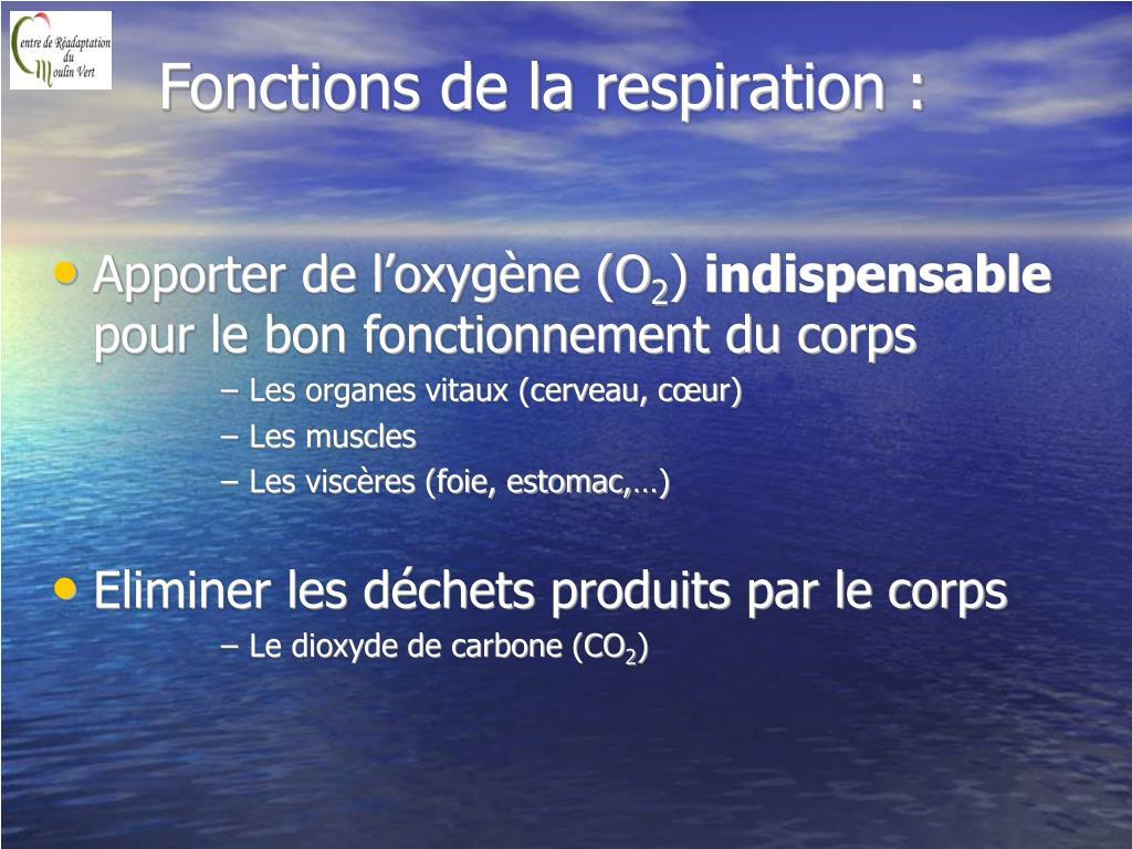 Fonctions de la respiration :