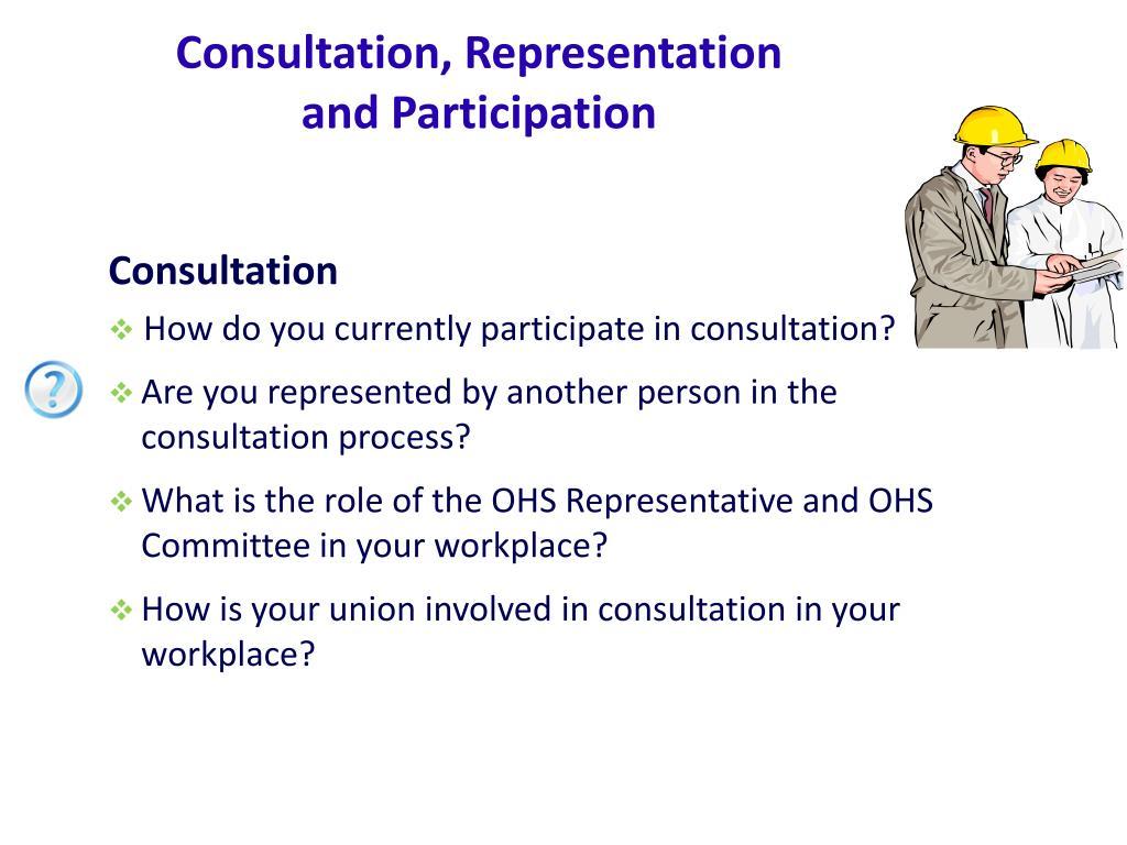 Consultation, Representation