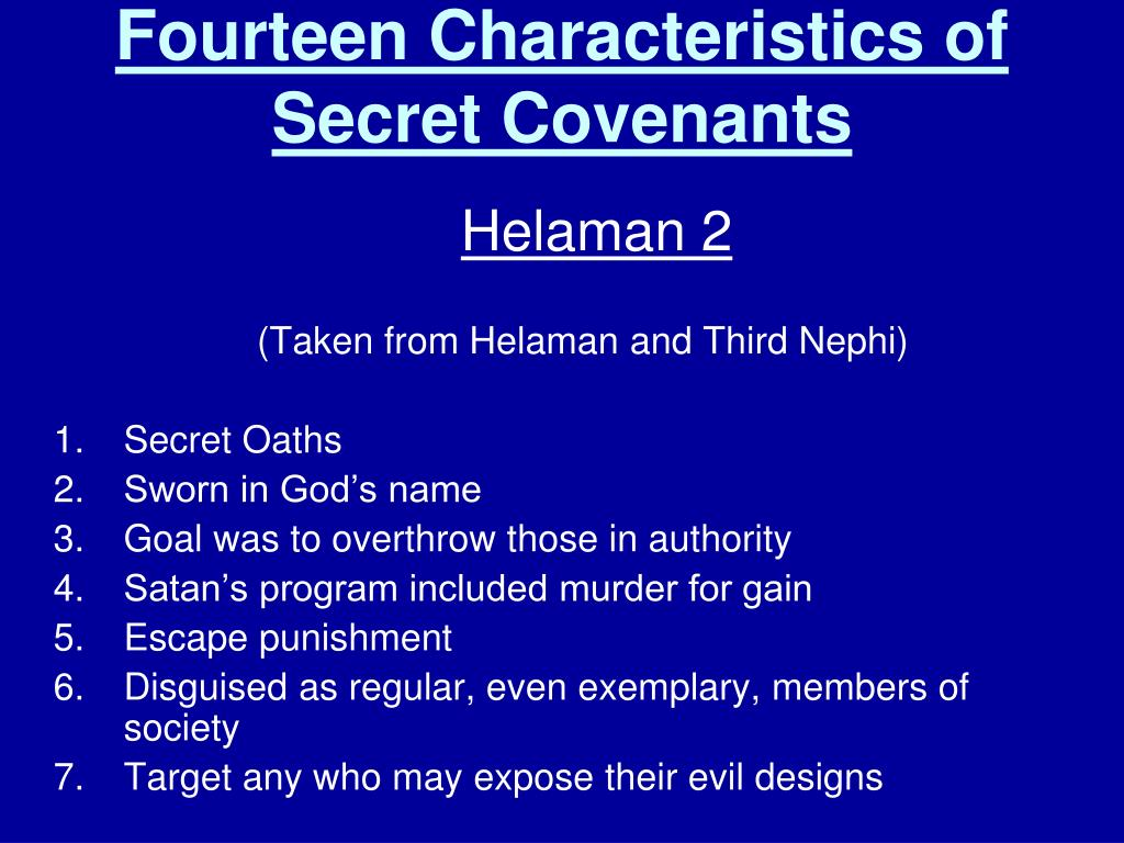 Fourteen Characteristics of Secret Covenants