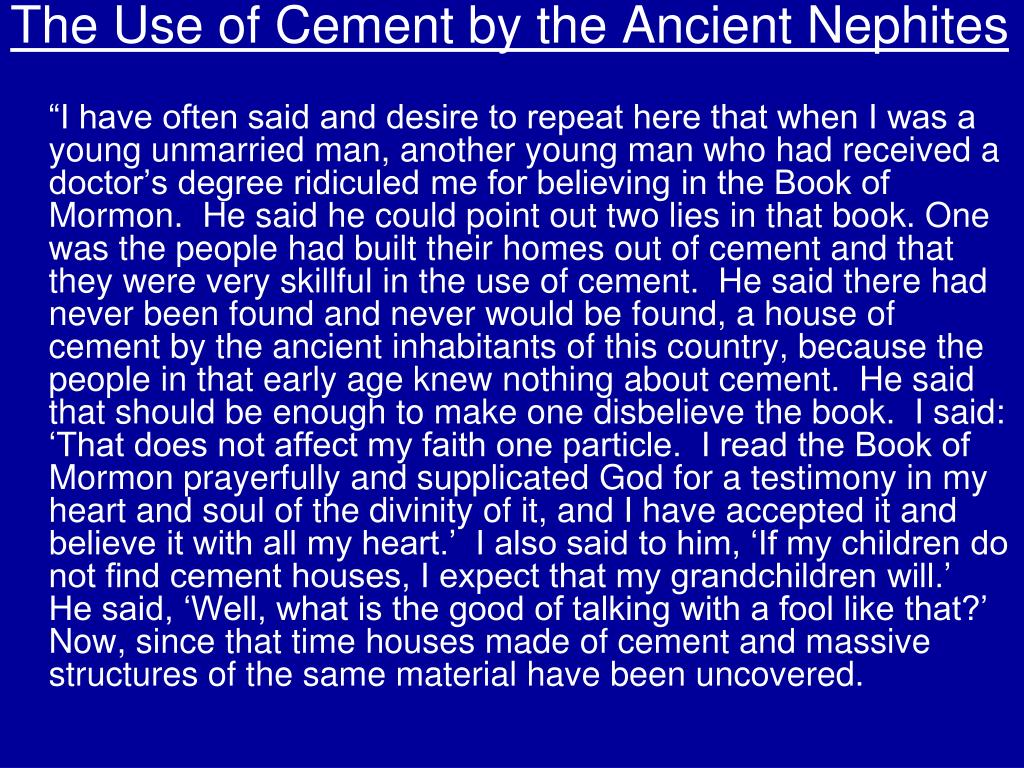 The Use of Cement by the Ancient Nephites