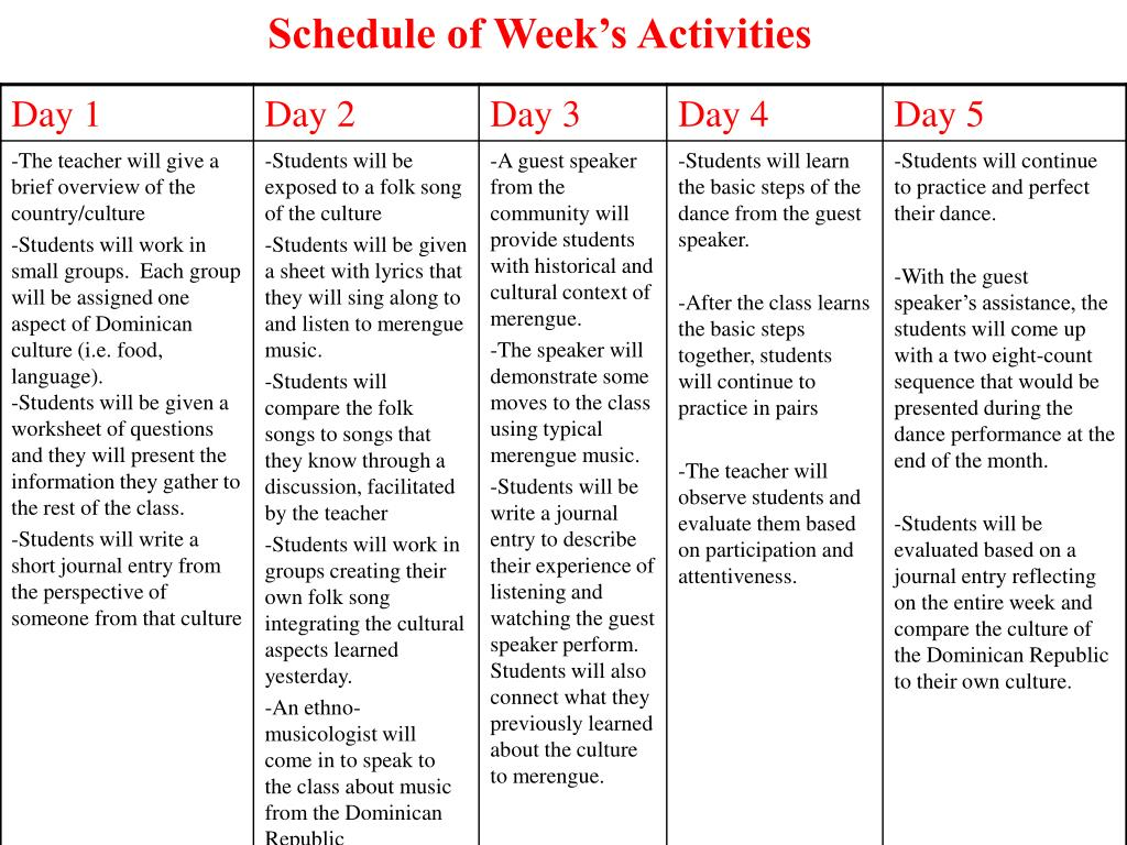 Schedule of Week's Activities