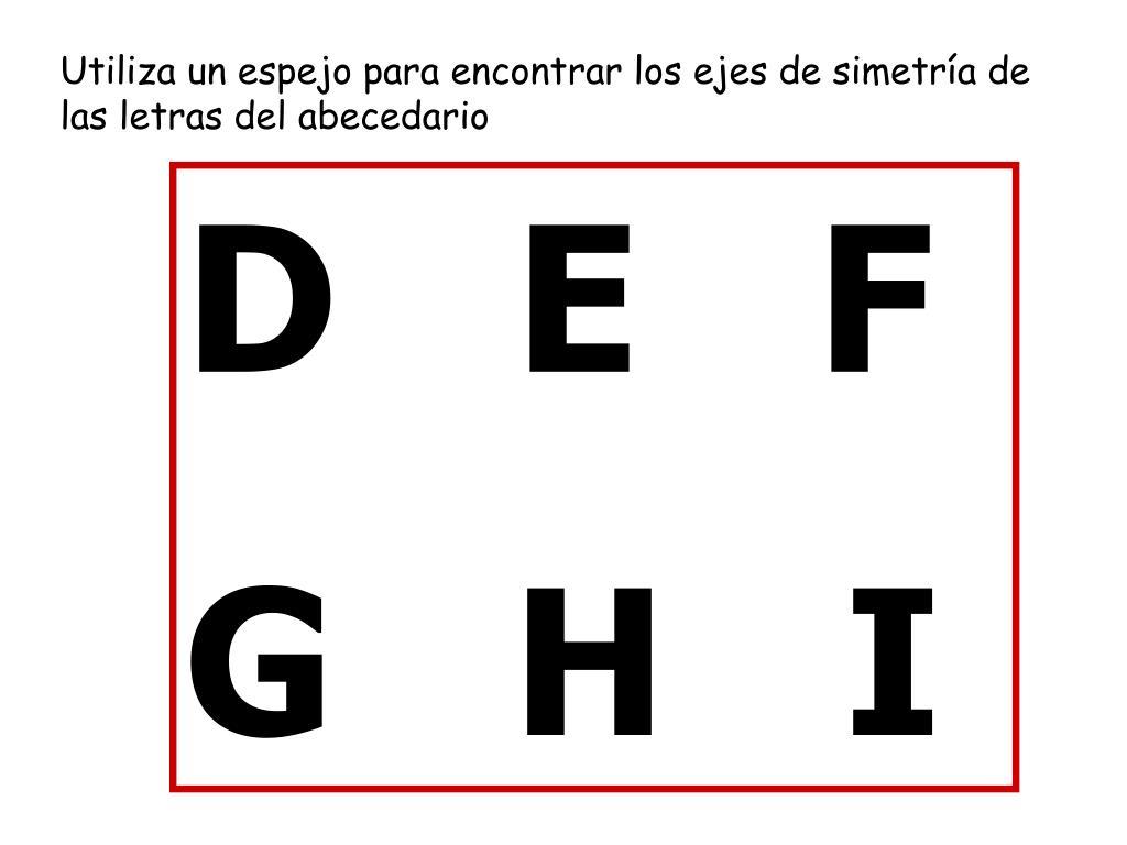Utiliza un espejo para encontrar los ejes de simetría de las letras del abecedario