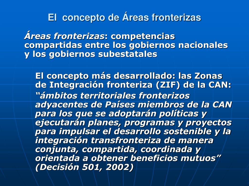 El  concepto de Áreas fronterizas