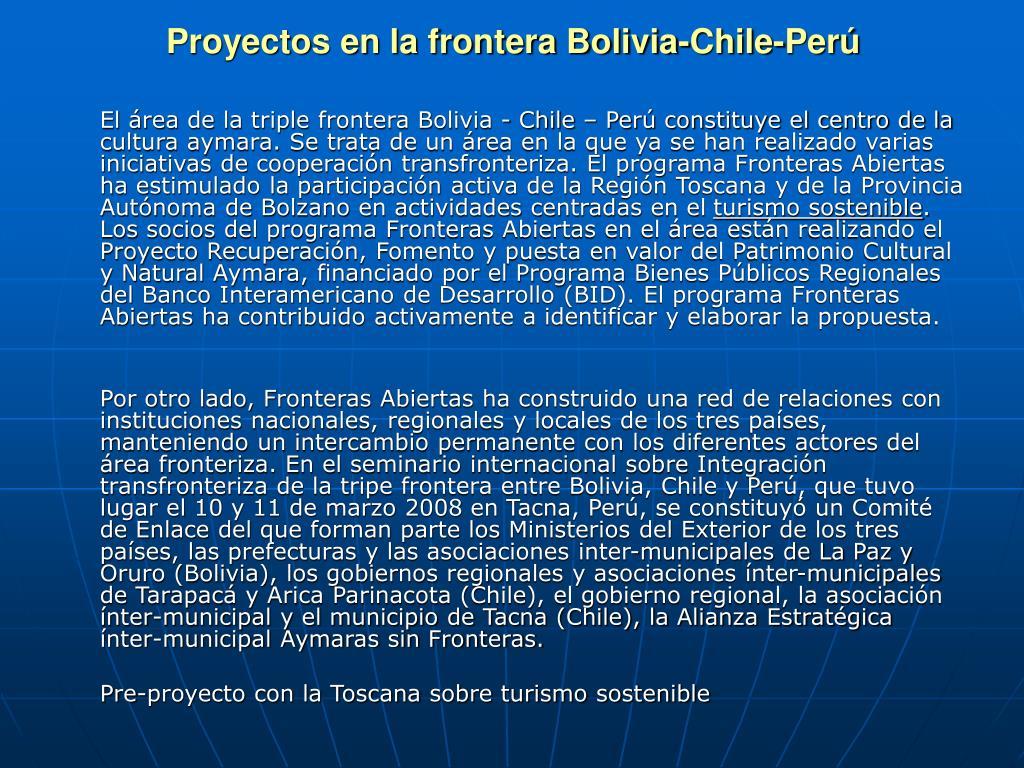 Proyectos en la frontera Bolivia-Chile-Per