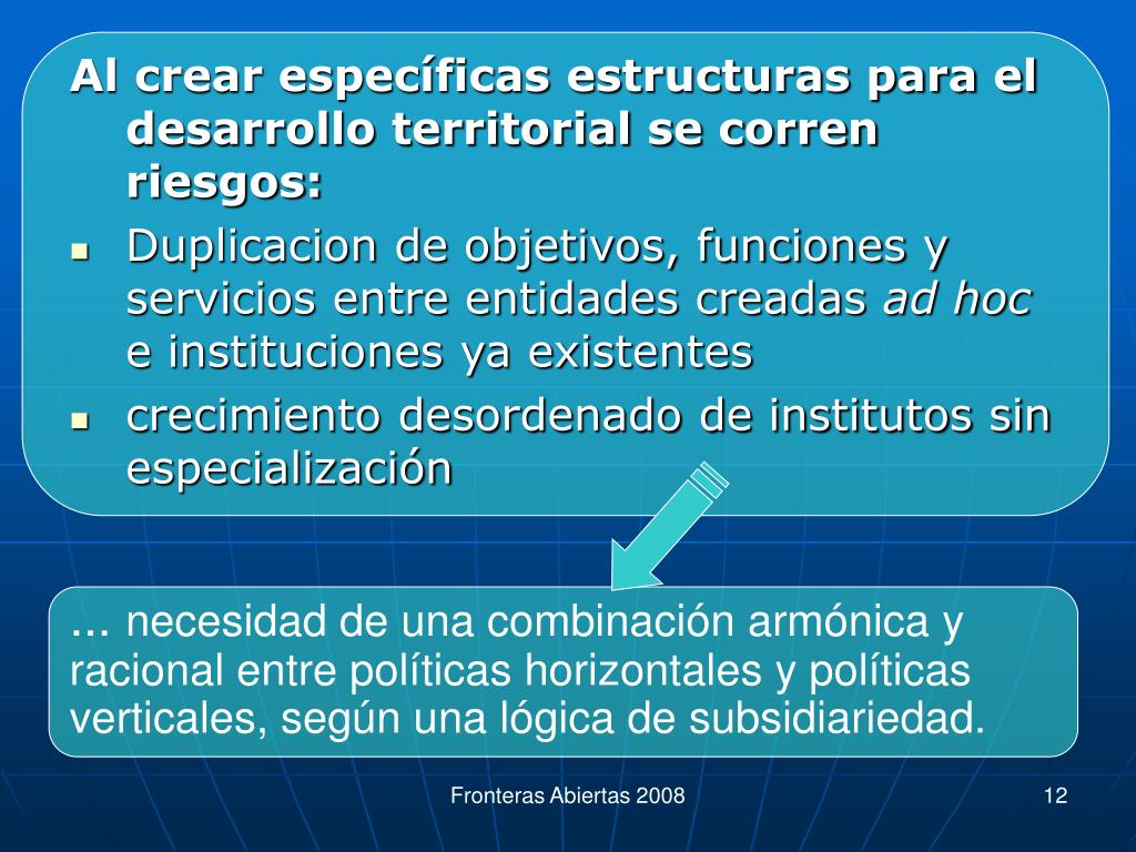 Al crear específicas estructuras para el desarrollo territorial se corren riesgos: