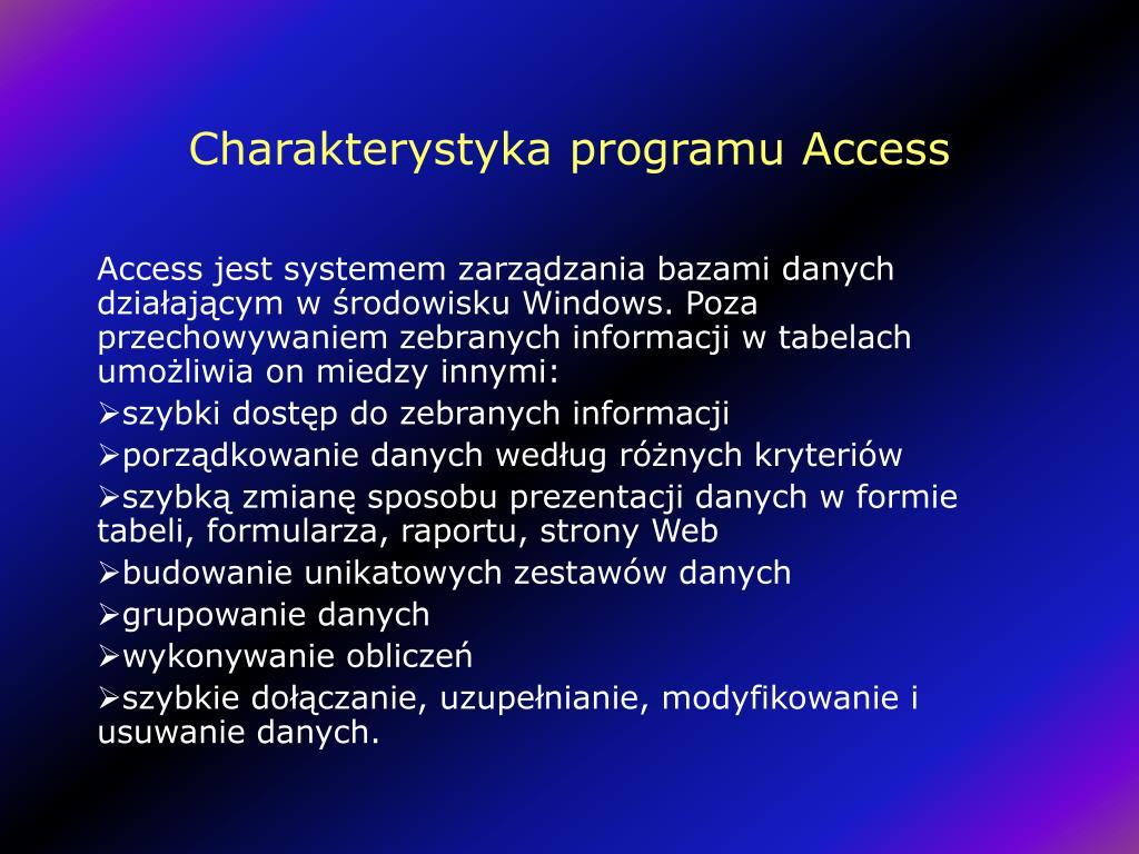 Charakterystyka programu Access