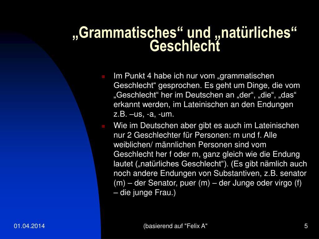 """""""Grammatisches"""" und """"natürliches"""" Geschlecht"""