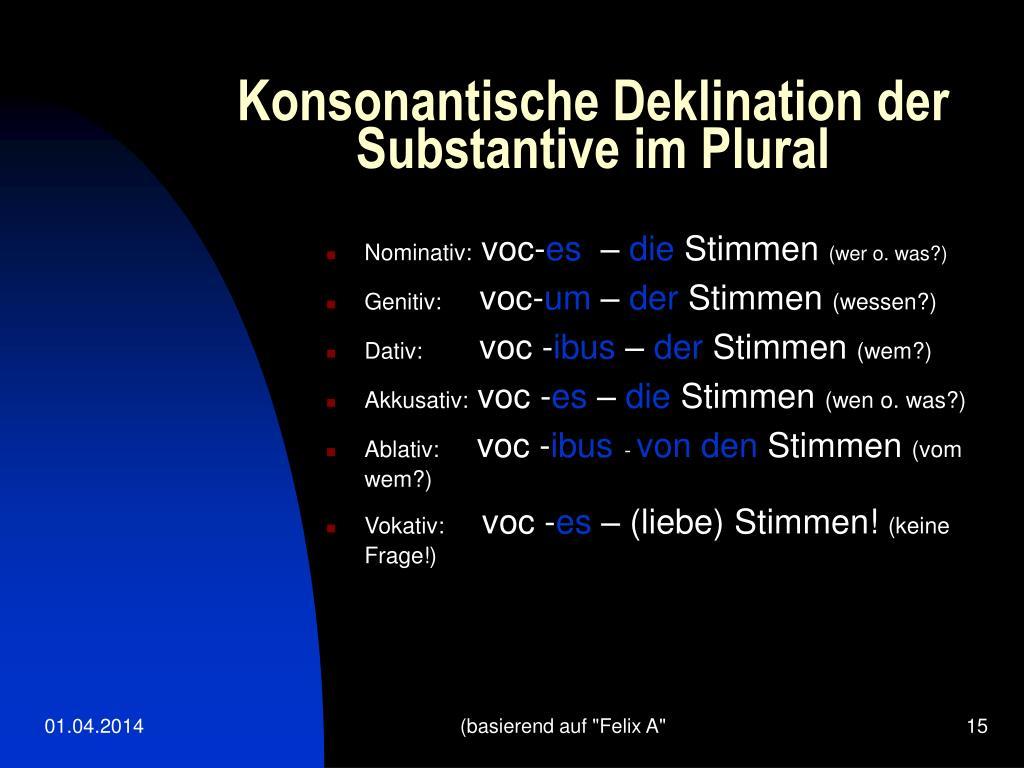 Konsonantische Deklination der Substantive im Plural