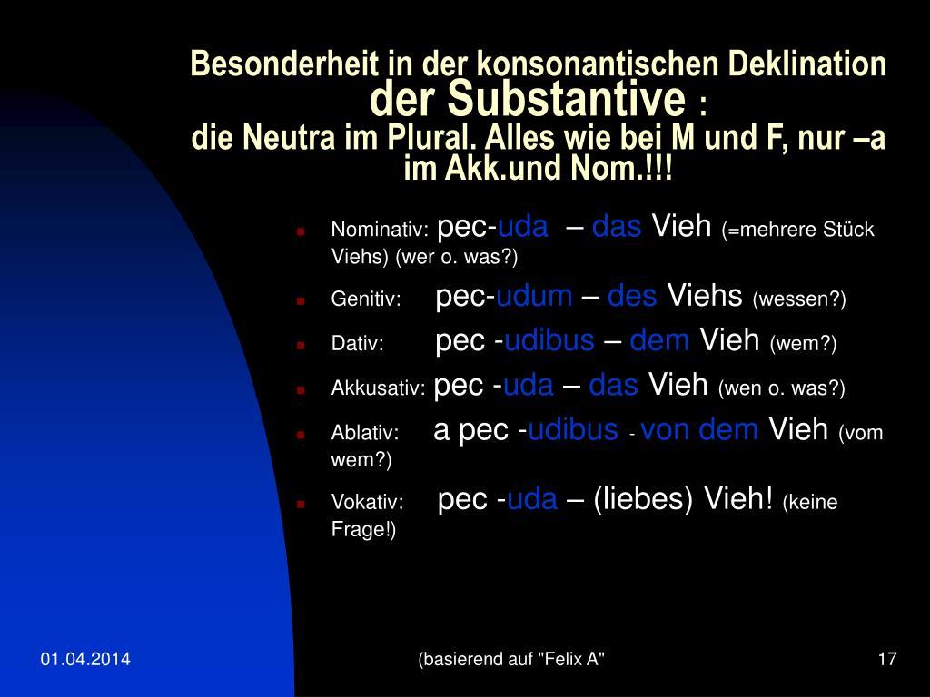 Besonderheit in der konsonantischen Deklination