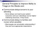 general principles to improve ability to triage on the wards cont9