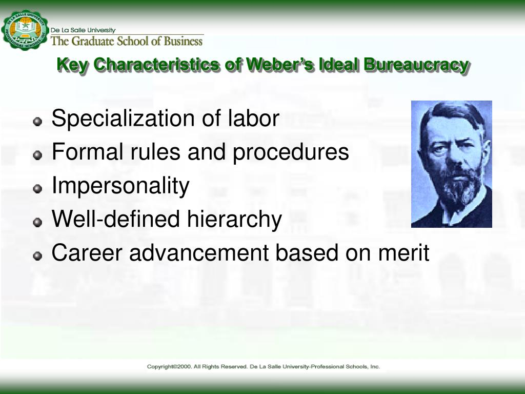 ideal bureaucracy Ter 11 concerning weberian bureaucracy and corruption see for example rauch   berian ideal type incorporates different features, such as the.