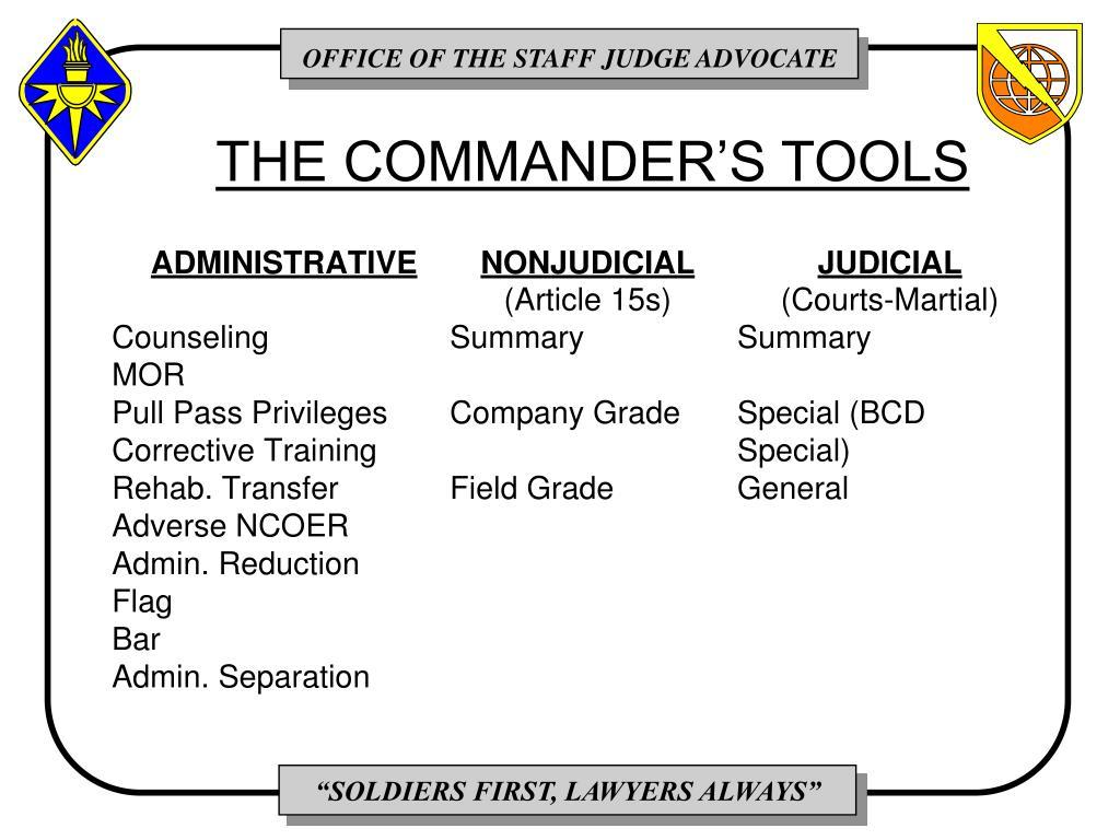 THE COMMANDER'S TOOLS