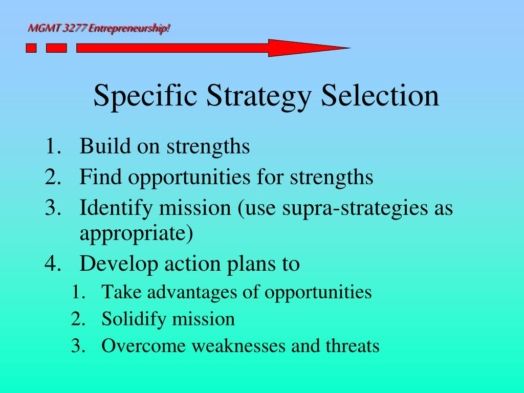 Specific Strategy Selection