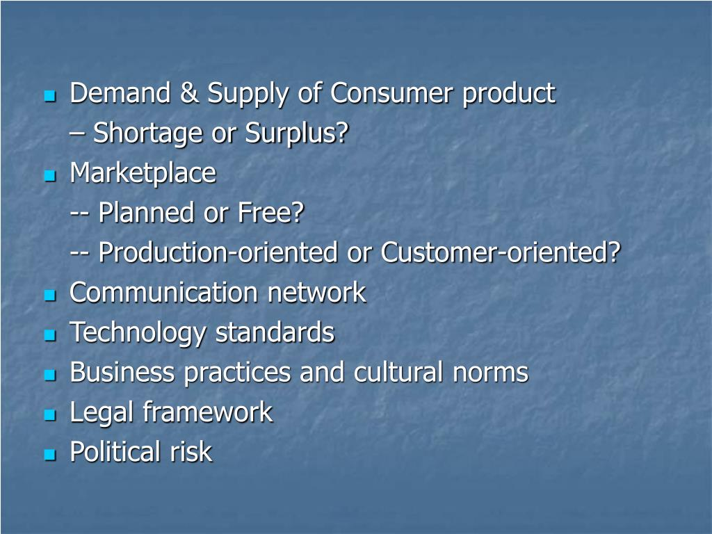 Demand & Supply of Consumer product
