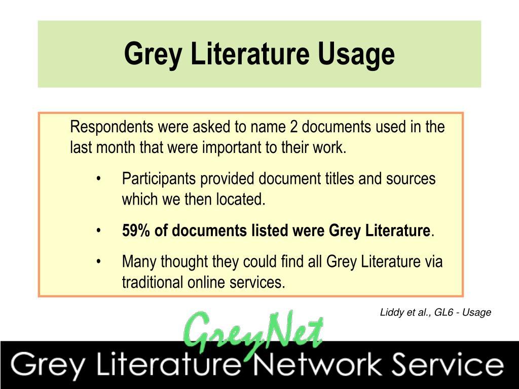 Grey Literature Usage