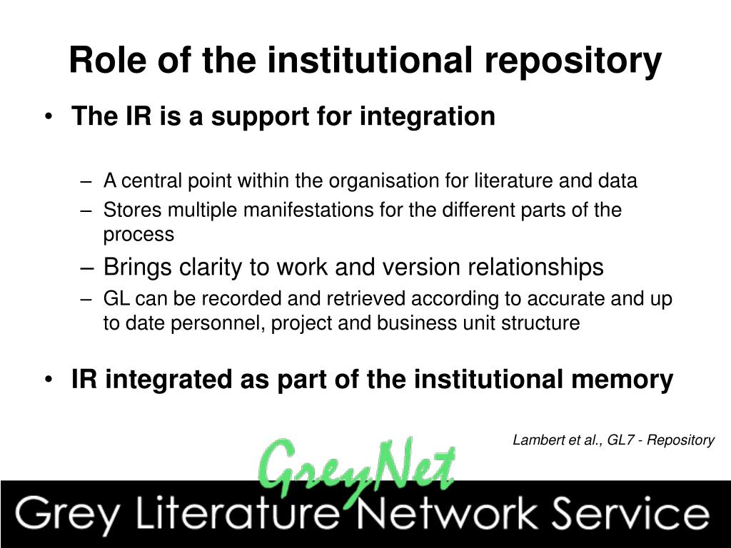Role of the institutional repository