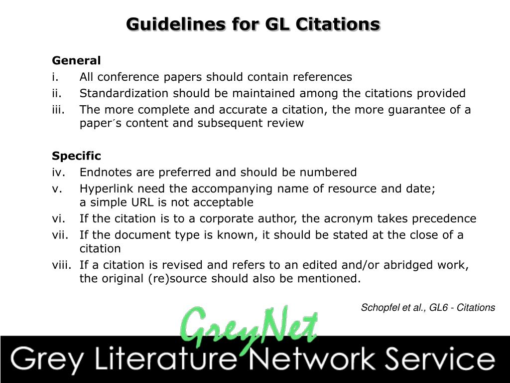 Guidelines for GL Citations