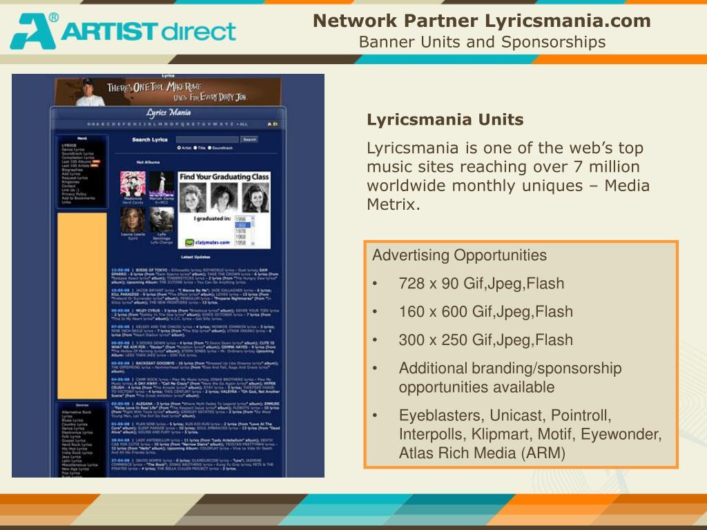 Network Partner Lyricsmania.com