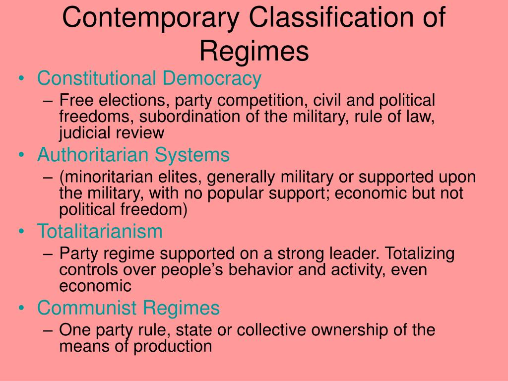 Contemporary Classification of Regimes
