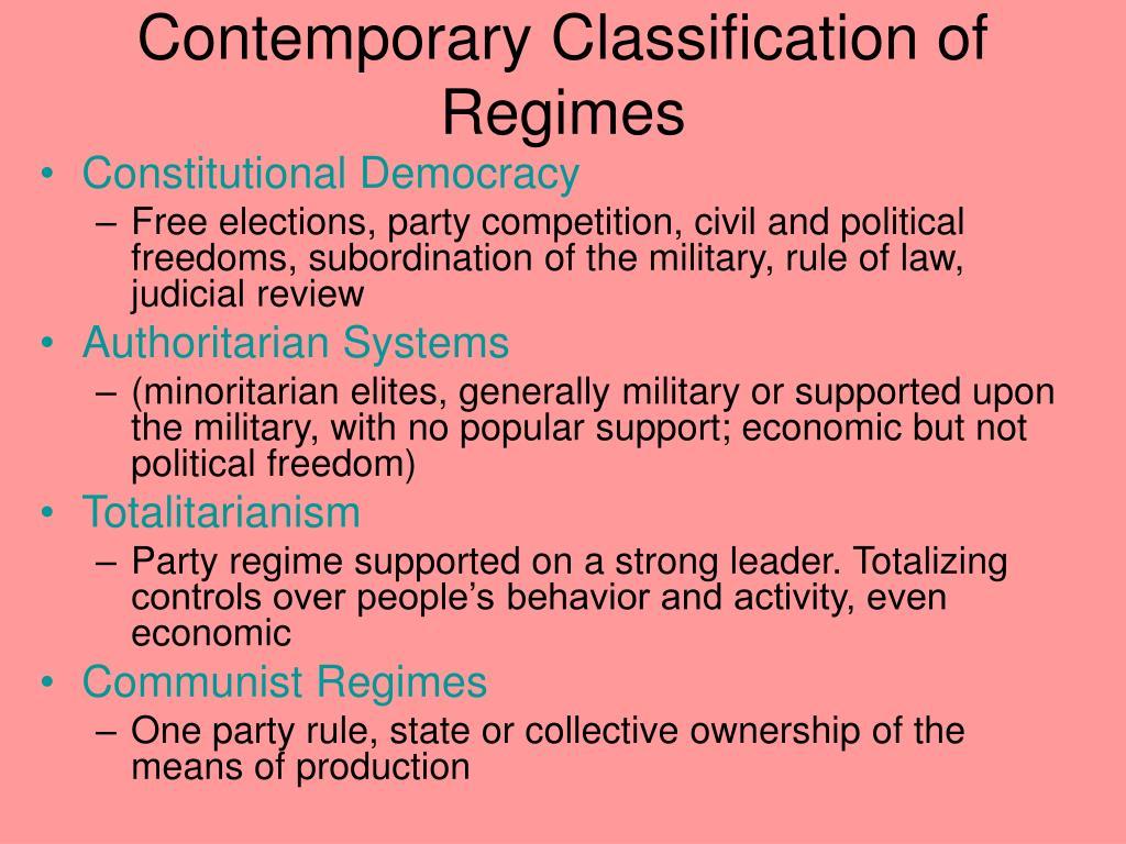 Contemporary Classification of Regimes