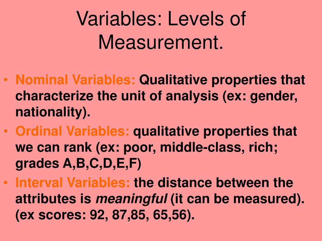 Variables: Levels of Measurement.
