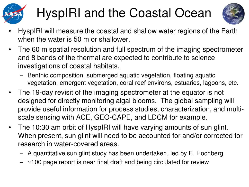 HyspIRI and the Coastal Ocean