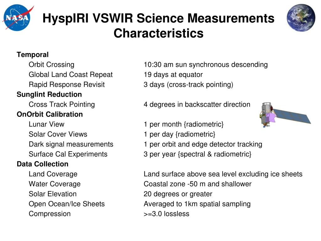 HyspIRI VSWIR Science Measurements