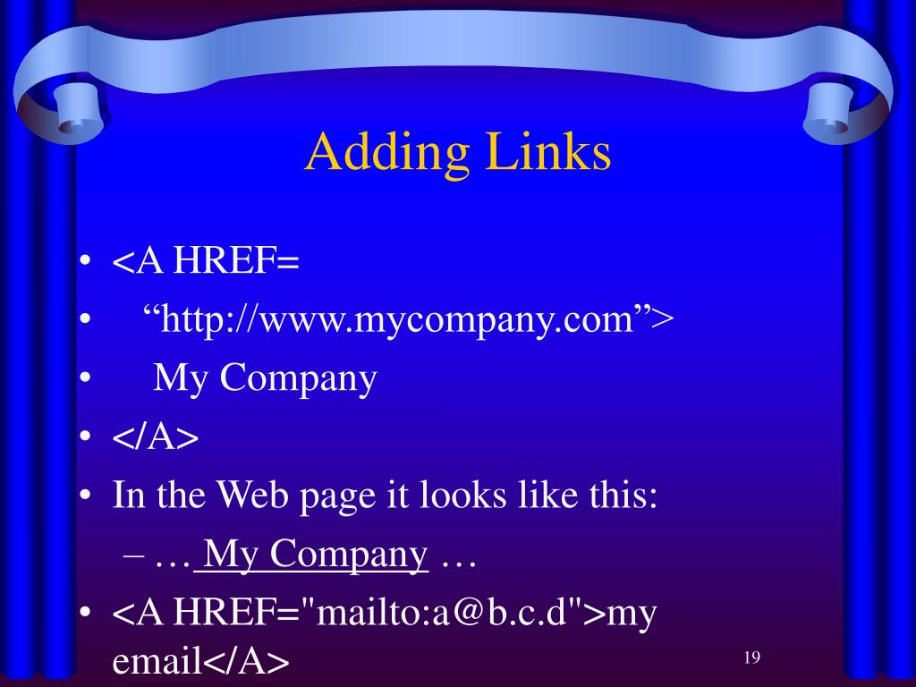 Adding Links
