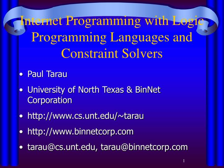 Internet programming with logic programming languages and constraint solvers