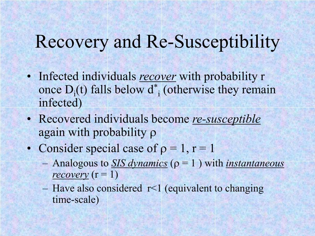 Recovery and Re-Susceptibility