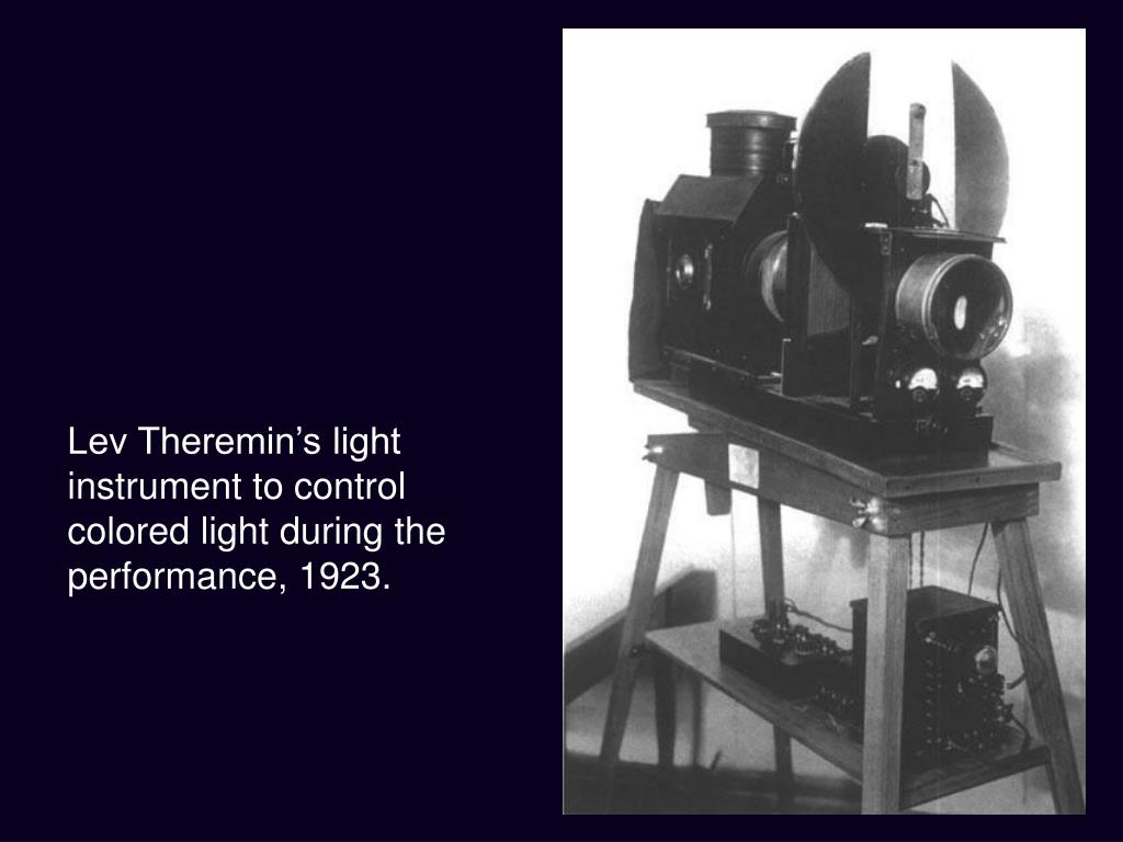 Lev Theremin's light instrument to control colored light during the performance, 1923.
