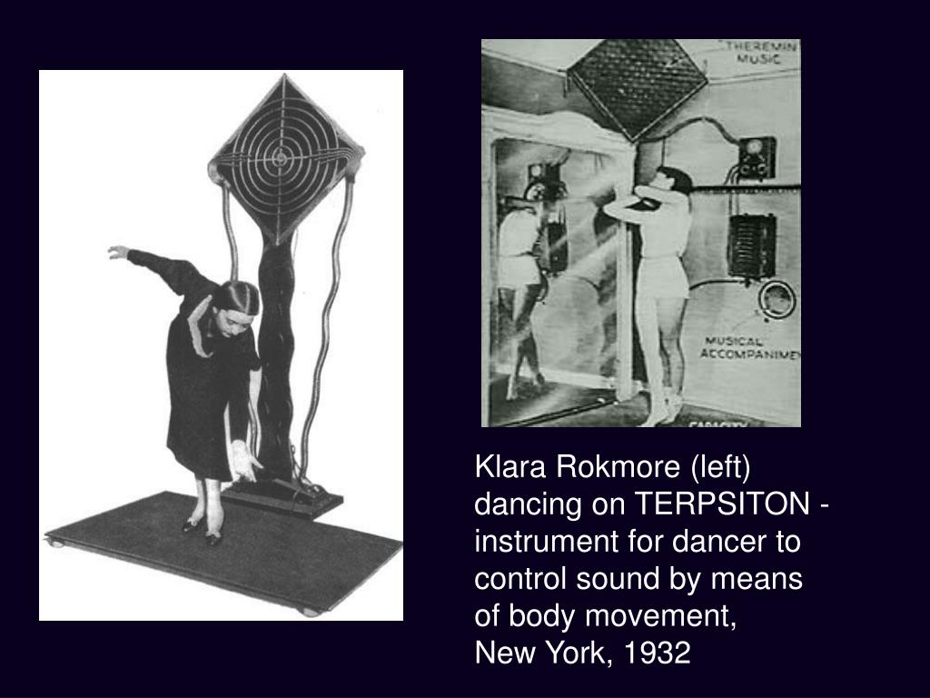 Klara Rokmore (left) dancing on TERPSITON - instrument for dancer to control sound by means of body movement,