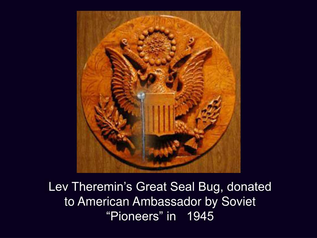"""Lev Theremin's Great Seal Bug, donated to American Ambassador by Soviet """"Pioneers"""" in   1945"""