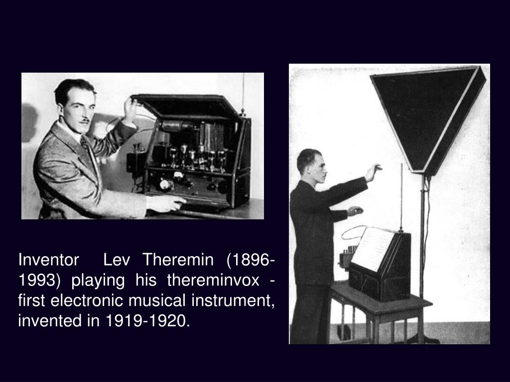 Inventor  Lev Theremin (1896-1993) playing his thereminvox - first electronic musical instrument, invented in 1919-1920