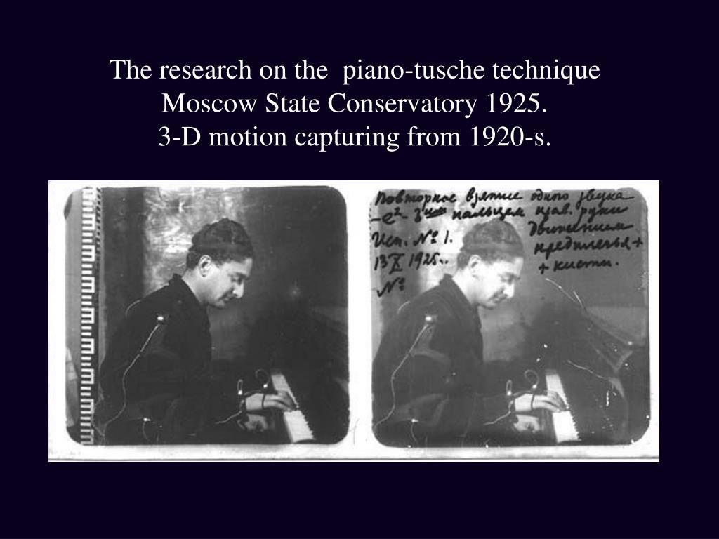 The research on the  piano-tusche technique