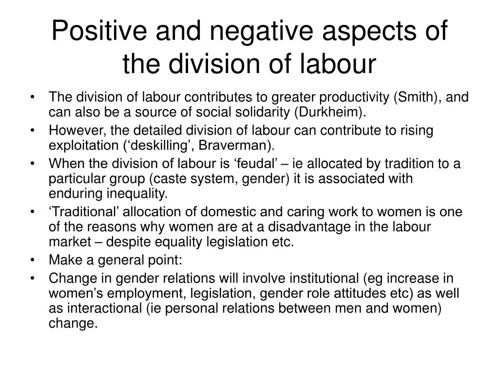 domestic division of labour Division of labor has an important role to play in the society since it does not rely on provision of economic services only, but also creates harmony between.