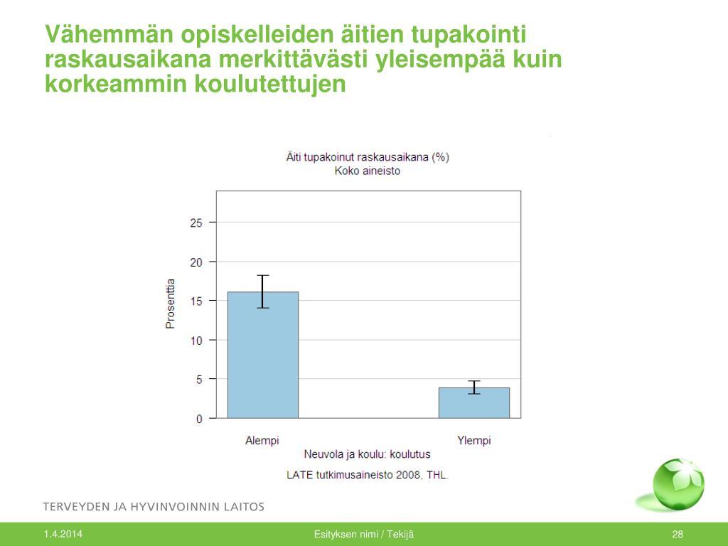 Vähemmän opiskelleiden äitien tupakointi raskausaikana merkittävästi yleisempää kuin korkeammin koulutettujen