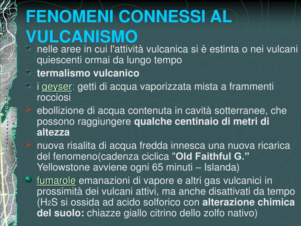 FENOMENI CONNESSI AL VULCANISMO