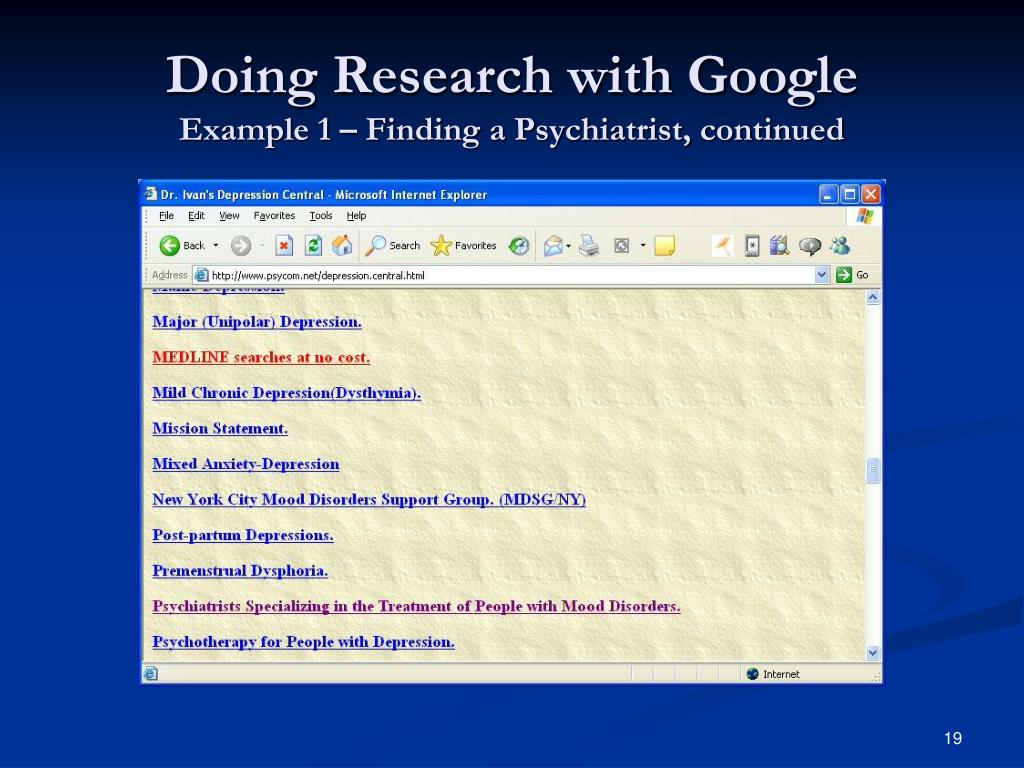 Doing Research with Google
